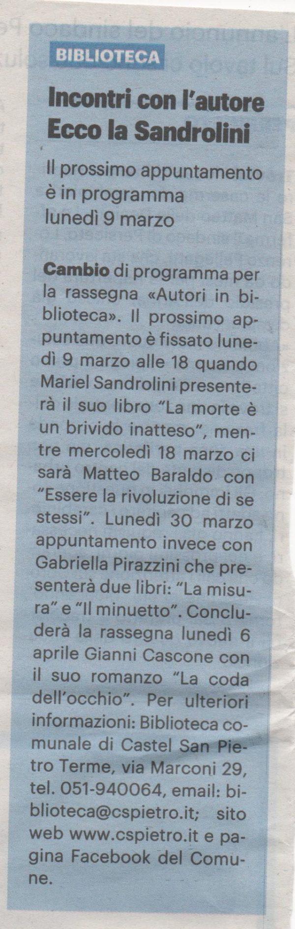Sul Resto del Carlino…ecco la Sandrolini